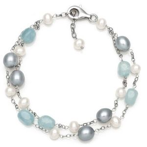 Jewelry - Pearl and Natural Milky Aquamarine Bracelet
